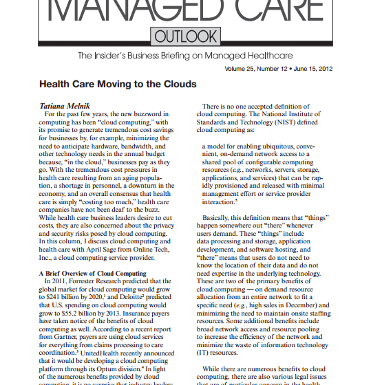 Managed Care Outlook: Cloud Computing for Healthcare