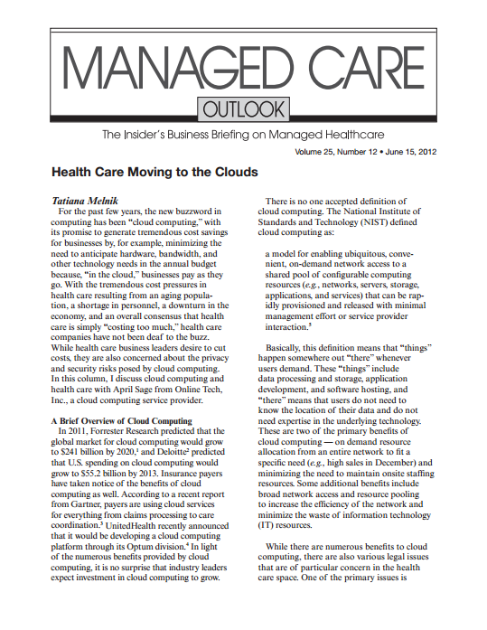 Healthcare Moving to the Clouds