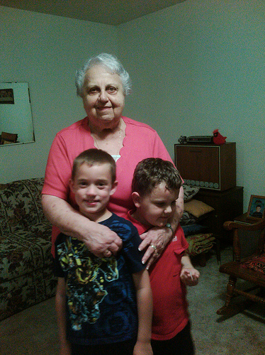 Aunt Minnie with the boys