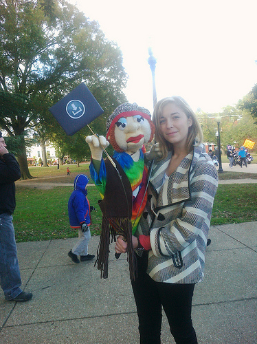 Megan and our Hippie Puppet