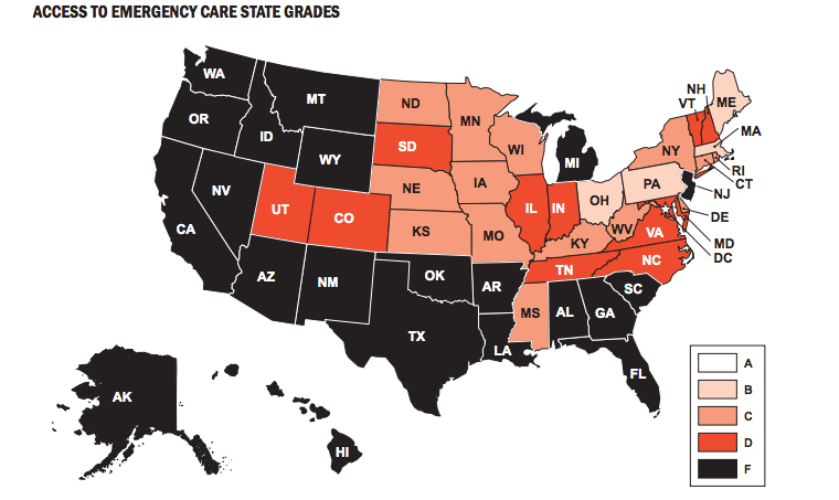 States Grades on Access to Emergency Care from ACEP Emergency Care Report Card 2014