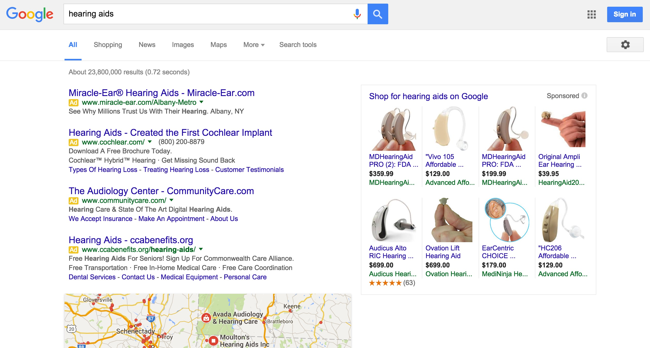 A Google search page for 'hearing aids'