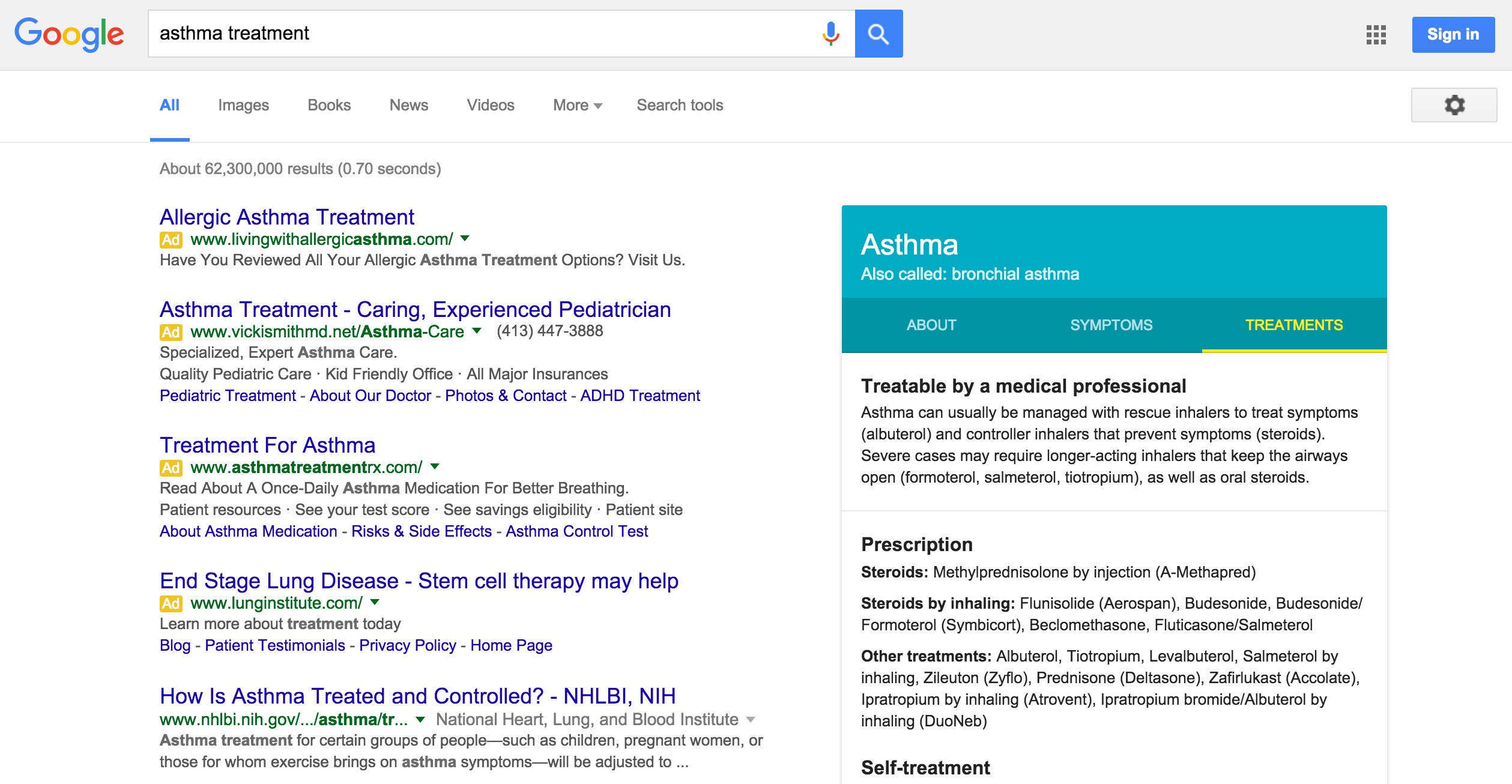 A Google search page for 'asthma treatment'